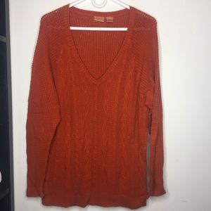 NorthCrest 1X Rustic Orange Knit Sweater